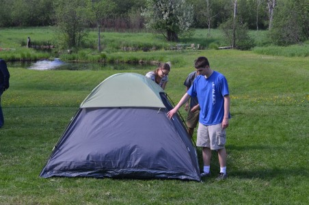 Some of my friends set up tents in my back yard to help me celebrate my last night.