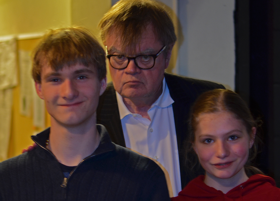 Despite a following larger than many religions, Keillor prefers talking with kids about their lives and dreams.